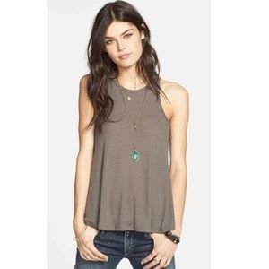 Free People Ribbed High Neck Trapeze Tank